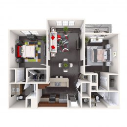 Bell Channelside deluxe two bedroom apartment floor plan