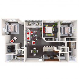 Bell Channelside apartments three bedroom floor plan